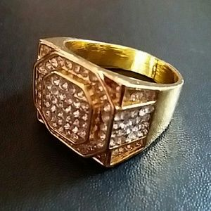 Men's Bling Gold Plated Ice Ring